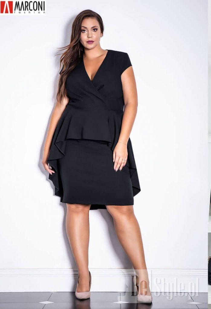 czarna sukienka plus size selena do kolan