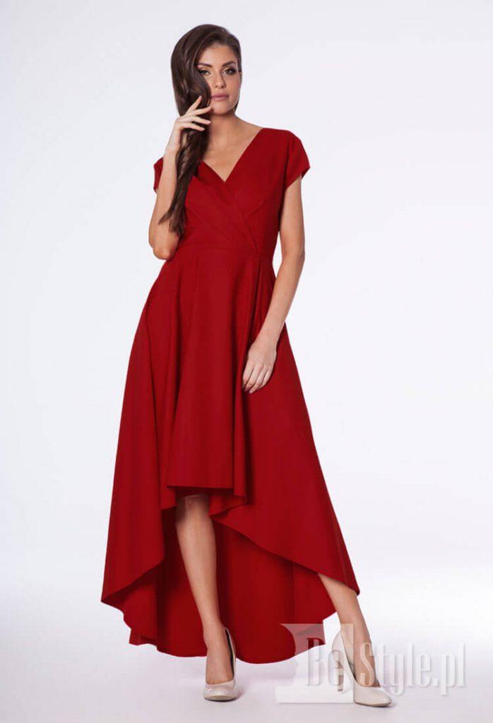 czerwona suknia plus size bella z długim tyłem